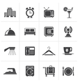 Black Hotel motel and travel icons vector image