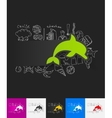 dolphin paper sticker with hand drawn elements vector image