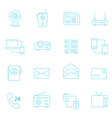 Thin lines icon set - communication devices vector image