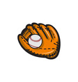 Baseball Glove Ball Retro vector image