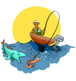 A good fisherman on the pond vector image