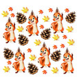autumn pattern background with funny squirrel vector image