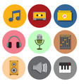 simple musical symbol icons graphic set vector image