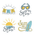 summer set of logo design for banner poster vector image