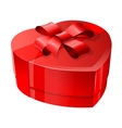 Red heart-shaped package with a shiny ribbon vector image