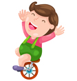 Funny boy with bicycle vector image vector image