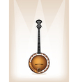 A Beautiful Banjo on Brown Stage Background vector image