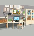 interior of workroom in cartoon style vector image