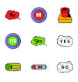 button no icons set cartoon style vector image