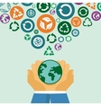 ecology concept - human hands holding globe with vector image vector image