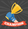 hand with boxing glove holding gold trophy cup vector image
