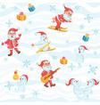 Christmas pattern with Santa snowman snowflakes vector image vector image