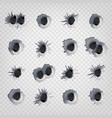 Bullet holes in metal wall realistic vector image
