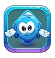 App icon with funny cute blue rhombus vector image