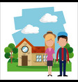 couple residential house garden vector image