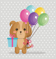 cute dog with balloons air kawaii birthday card vector image