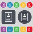 form icon sign A set of 12 colored buttons Flat vector image