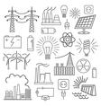Power energy icon set Thin line design vector image