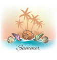sea shells and palm trees banner vector image