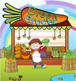 A man and a vegetable shop vector image vector image