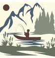 vintage of fishing theme vector image