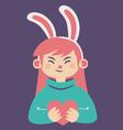 Cute Bunny Girl Holding a Heart vector image