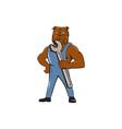 Bulldog Mechanic Holding Wrench Cartoon vector image vector image