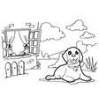 Coloring book with dog and window vector image