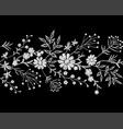embroidery white lace border floral border small vector image