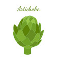 healthy artichoke cartoon flat style vector image
