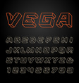Linear font alphabet with 3d effect letters and vector image