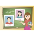 Yearbook about schoolgirl and chalkboard vector image