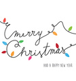 Merry Christmas text created of power cable with vector image vector image
