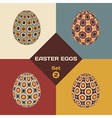 Set of 4 geometrical patterned eggs vector image