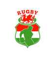 welsh rugby player wales dragon shield vector image