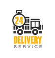 delivery service 24 hours logo design template vector image