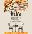 autumn landscape with furniture of street cafe vector image vector image
