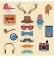 Hipster elements set vector image