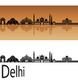 Delhi skyline in orange vector image vector image