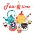 graphic of a tea set vector image vector image