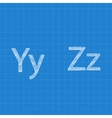 Sketched letters Y Z on blueprint background vector image