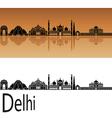 Delhi skyline in orange vector image