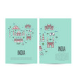india travel tour booklet set in linear style vector image