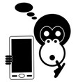 monkey with smart phone isolated vector image