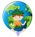 Little boy and earth theme vector image