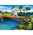 An elephant crossing a tree bridge vector image vector image