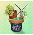 cute netherlands building and mill with tulips and vector image