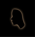 Outline of the form of a womans face in the dark vector image vector image