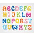 Cute textured sticker alphabet vector image