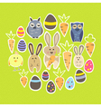 Easter set on a green vector image